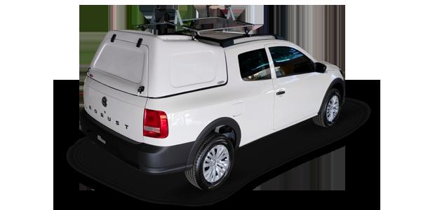 Capota de fibra modelo furgão para Volkswagen Saveiro cabine dupla com suporte para escada